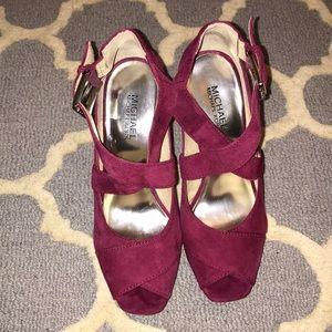9ce8e3edf321 MICHAEL Michael Kors Shoes - Michael Kors Suede Plum Platform Sandals